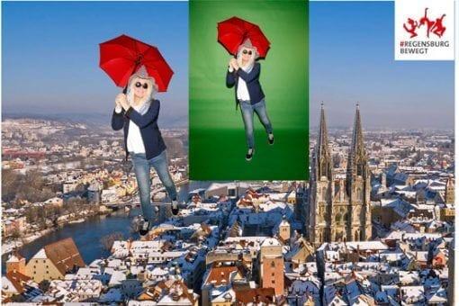 fotobox-greenscreen-foto-frau-mit-hut-und-schirm